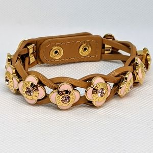NEW Henri Bendel pink floral leather bracelet